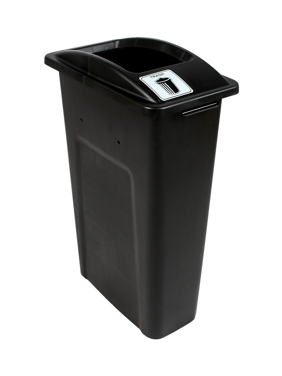 23 Gallon Black Skinny Simple Sort Trash Can (Trash, Open Top)