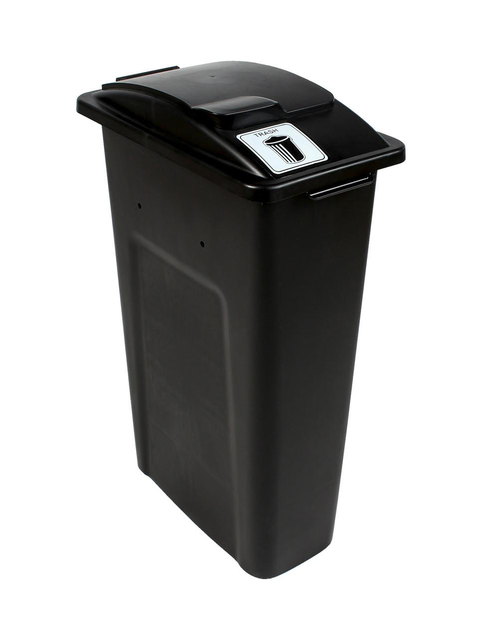 23 Gallon Black Skinny Simple Sort Trash Can (Trash, Lift Top)
