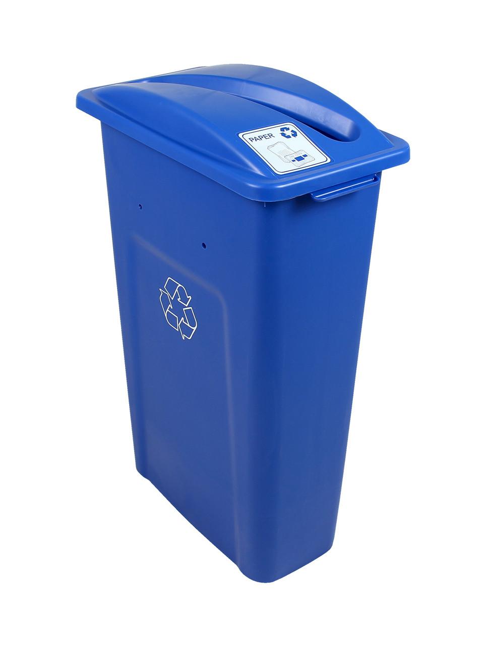 23 Gallon Blue Skinny Simple Sort Recycle Bin (Paper)