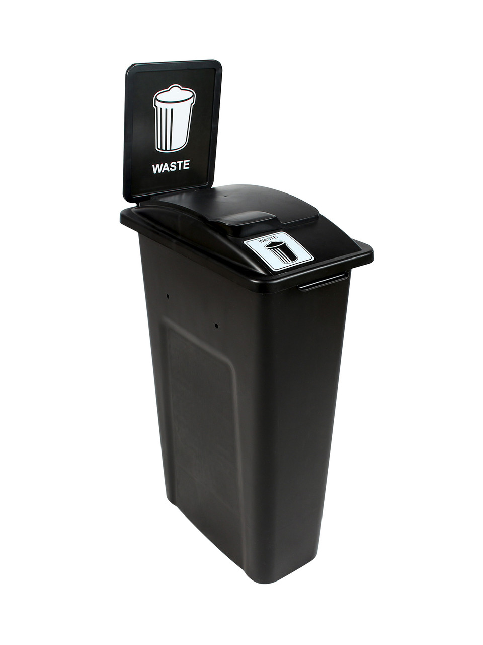 23 Gallon Black Skinny Simple Sort Waste Can with Sign (Waste, Lift Top)