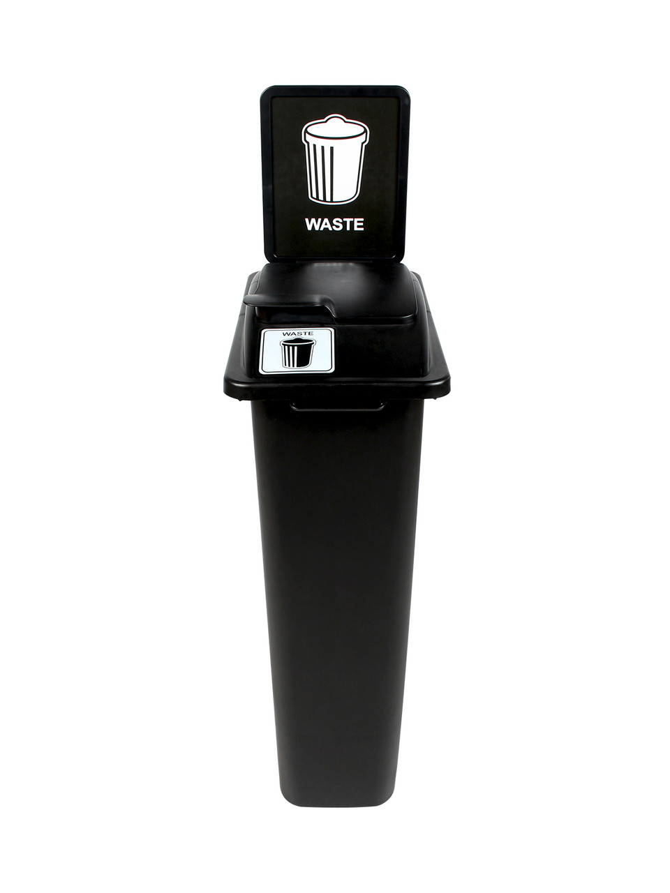23 Gallon Black Skinny Simple Sort Waste Can with Sign Lift Top
