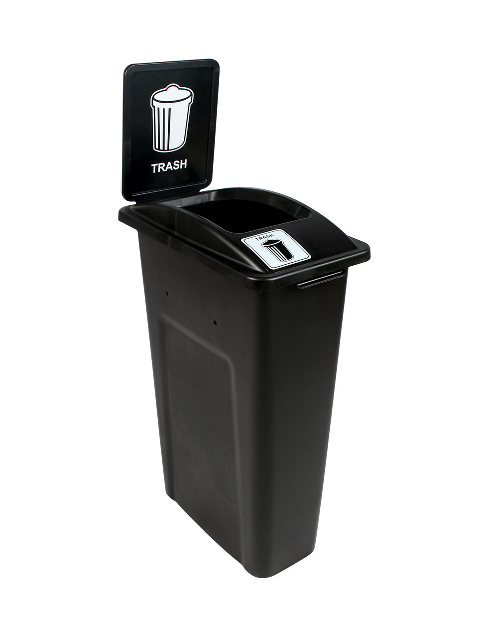 23 Gallon Black Skinny Simple Sort Trash Can with Sign (Trash, Open Top)