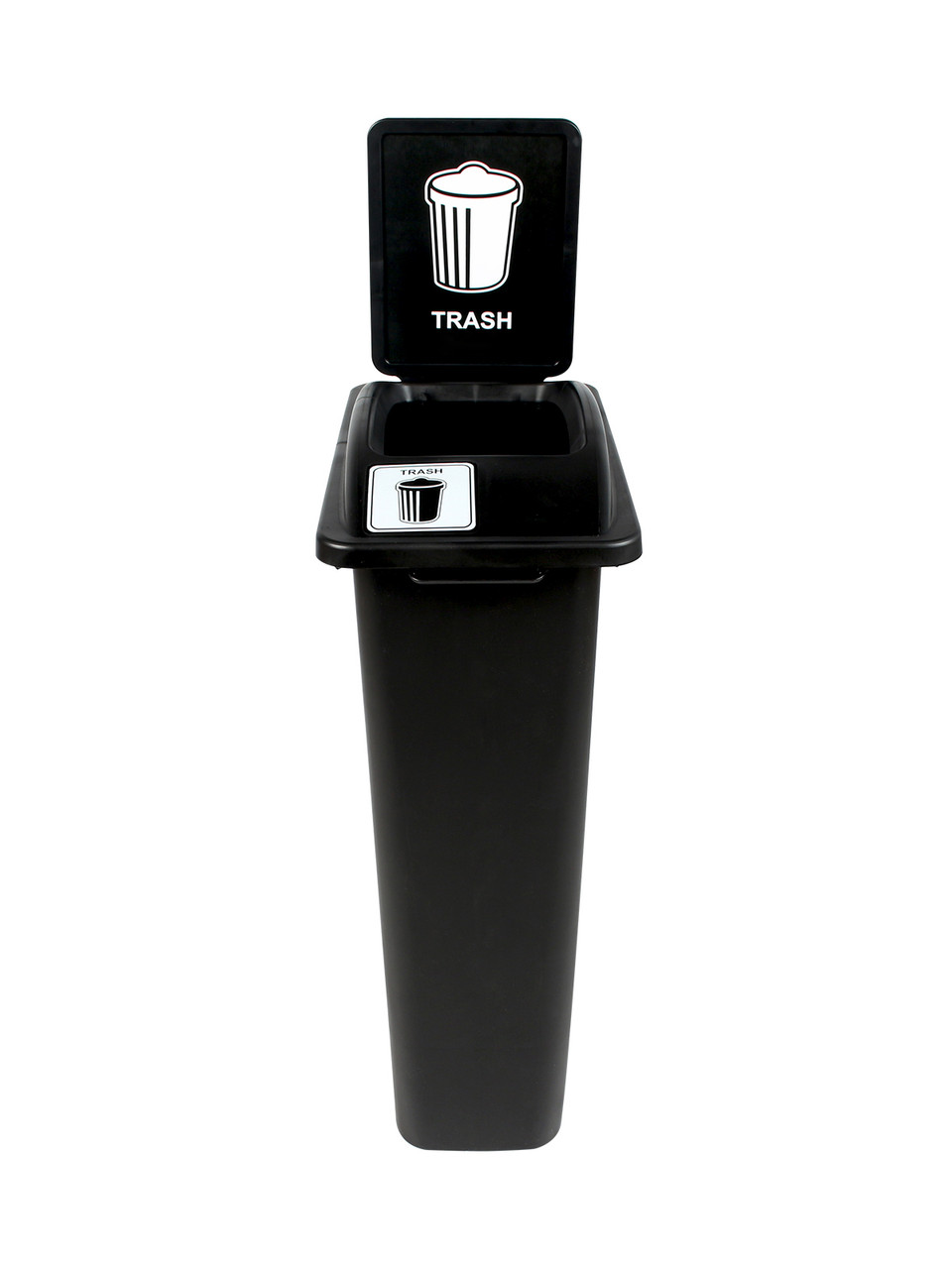 23 Gallon Black Skinny Trash Can with Sign Open Top