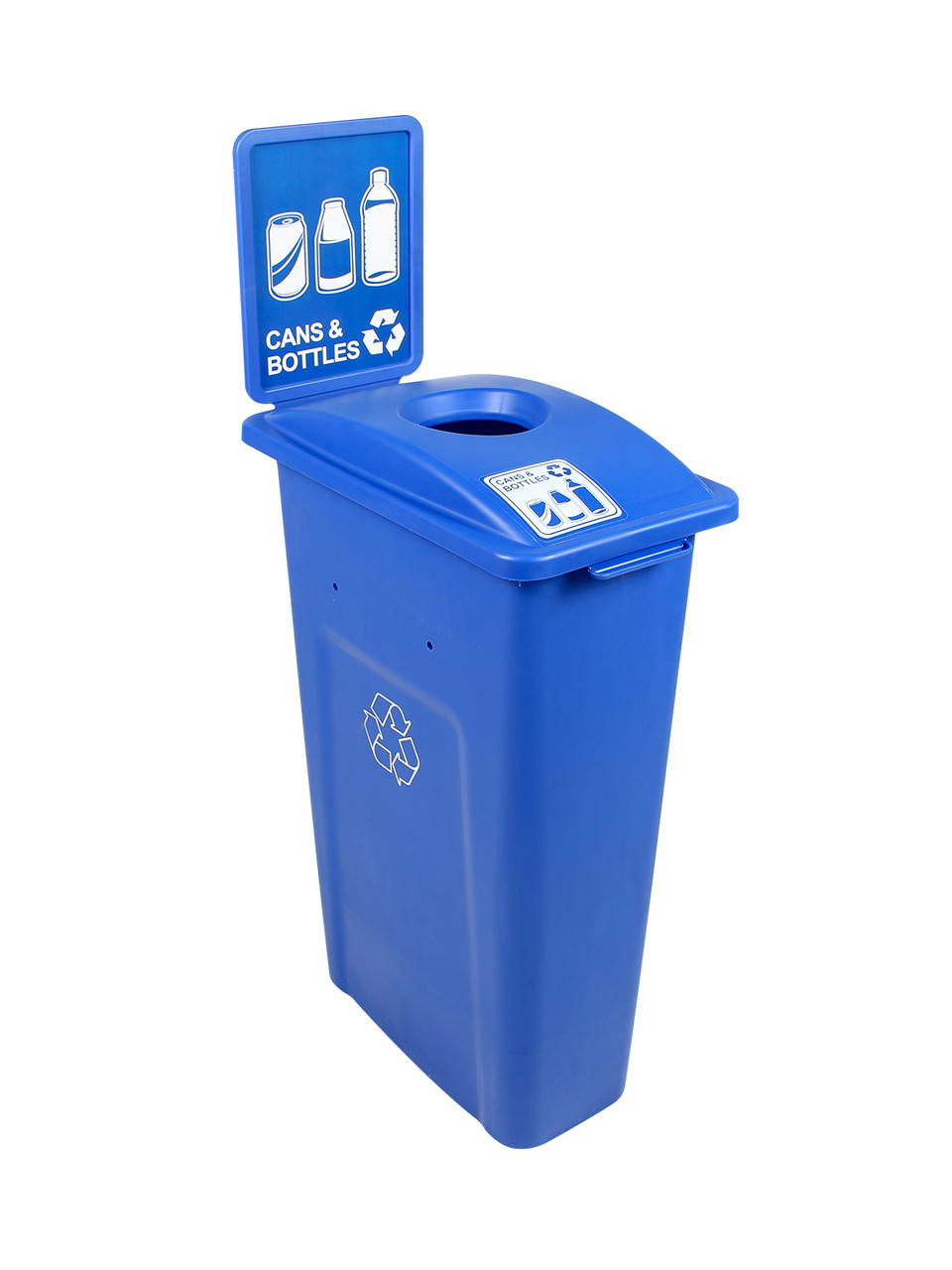23 Gallon Blue Skinny Simple Sort Recycle Bin with Sign (Cans & Bottles)