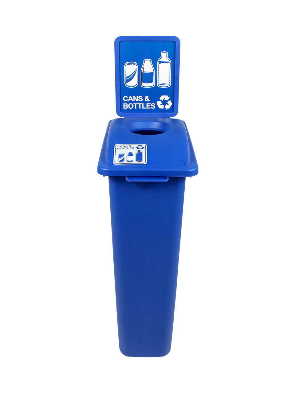 23 Gallon Blue Skinny Recycle Bin with Sign (Cans & Bottles)