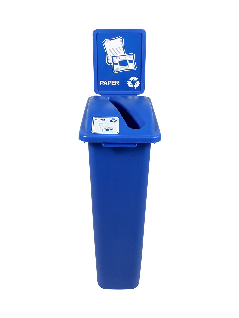 23 Gallon Blue Skinny Recycle Bin with Sign (Paper)