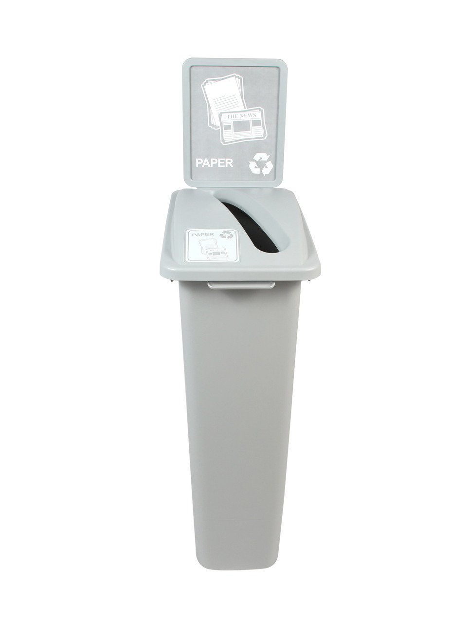 23 Gallon Gray Skinny Recycle Bin with Sign (Paper)