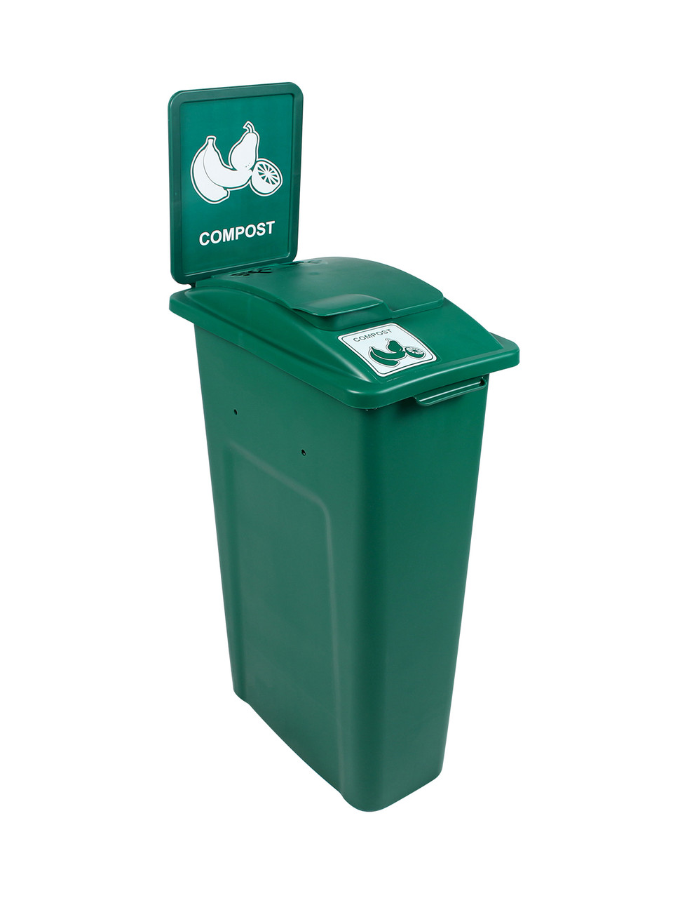23 Gallon Green Skinny Simple Sort Compost Bin with Sign (Compost, Vented Lift Top)