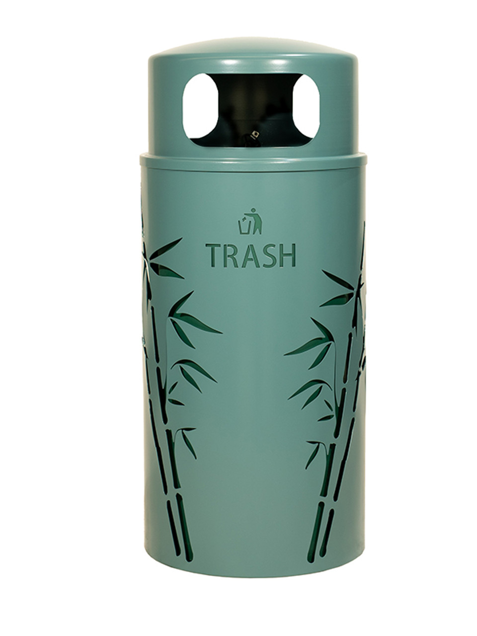 33 Gallon Nature Series Green Trash Can w/Anchor and Pole Kit (Bamboo Design)