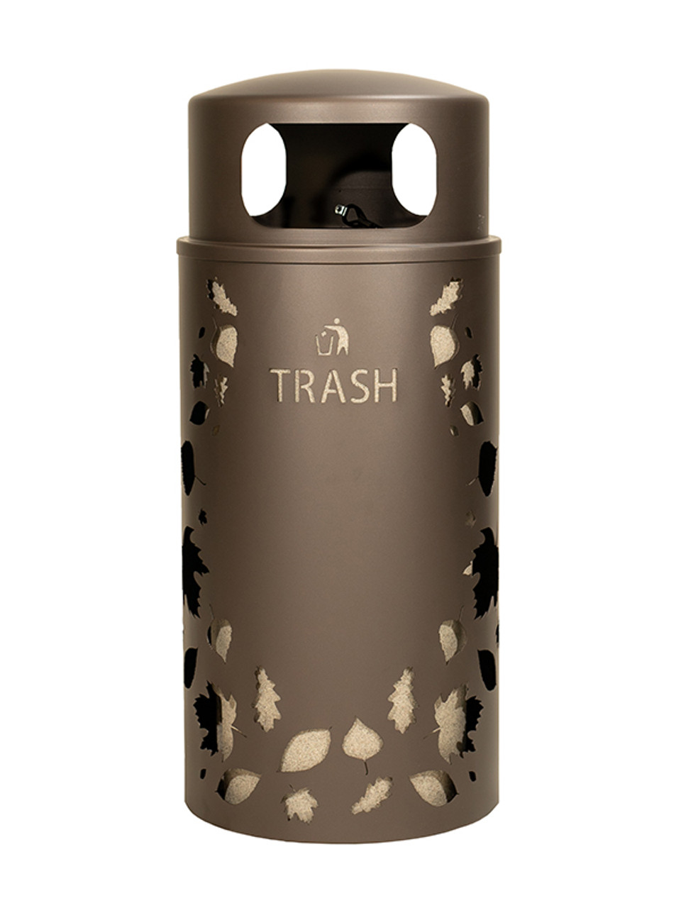 33 Gallon Nature Series Bronze Trash Can w/Anchor and Pole Kit (Leaves Design)