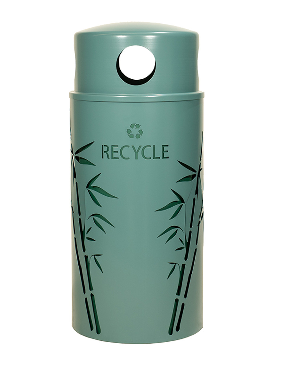 33 Gallon Nature Series Green Recycle Bin w/Anchor and Pole Kit (Bamboo Design)