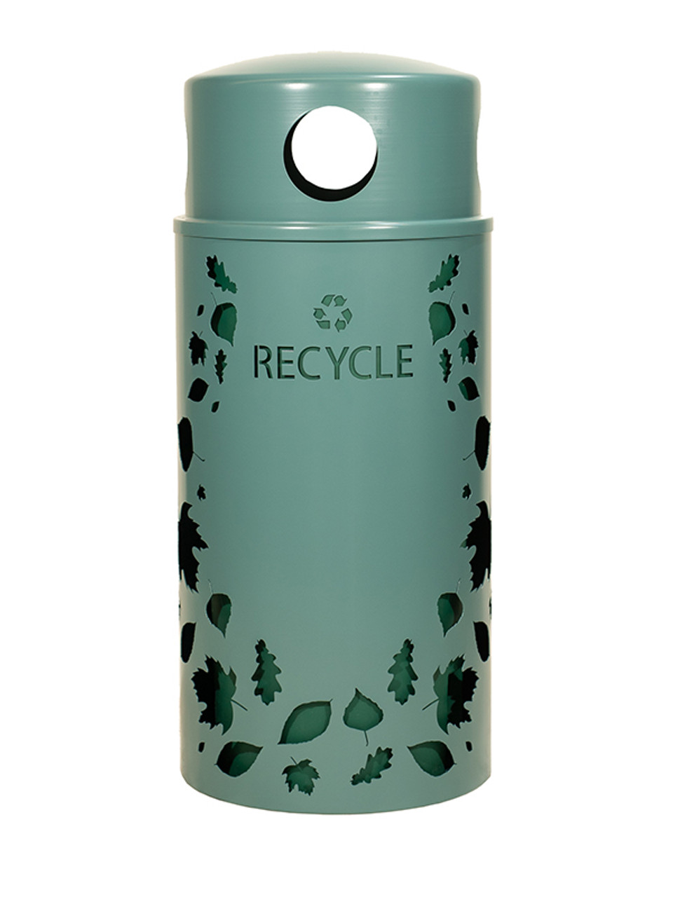 33 Gallon Nature Series Green Recycle Bin w/Anchor and Pole Kit (Leaves Design)