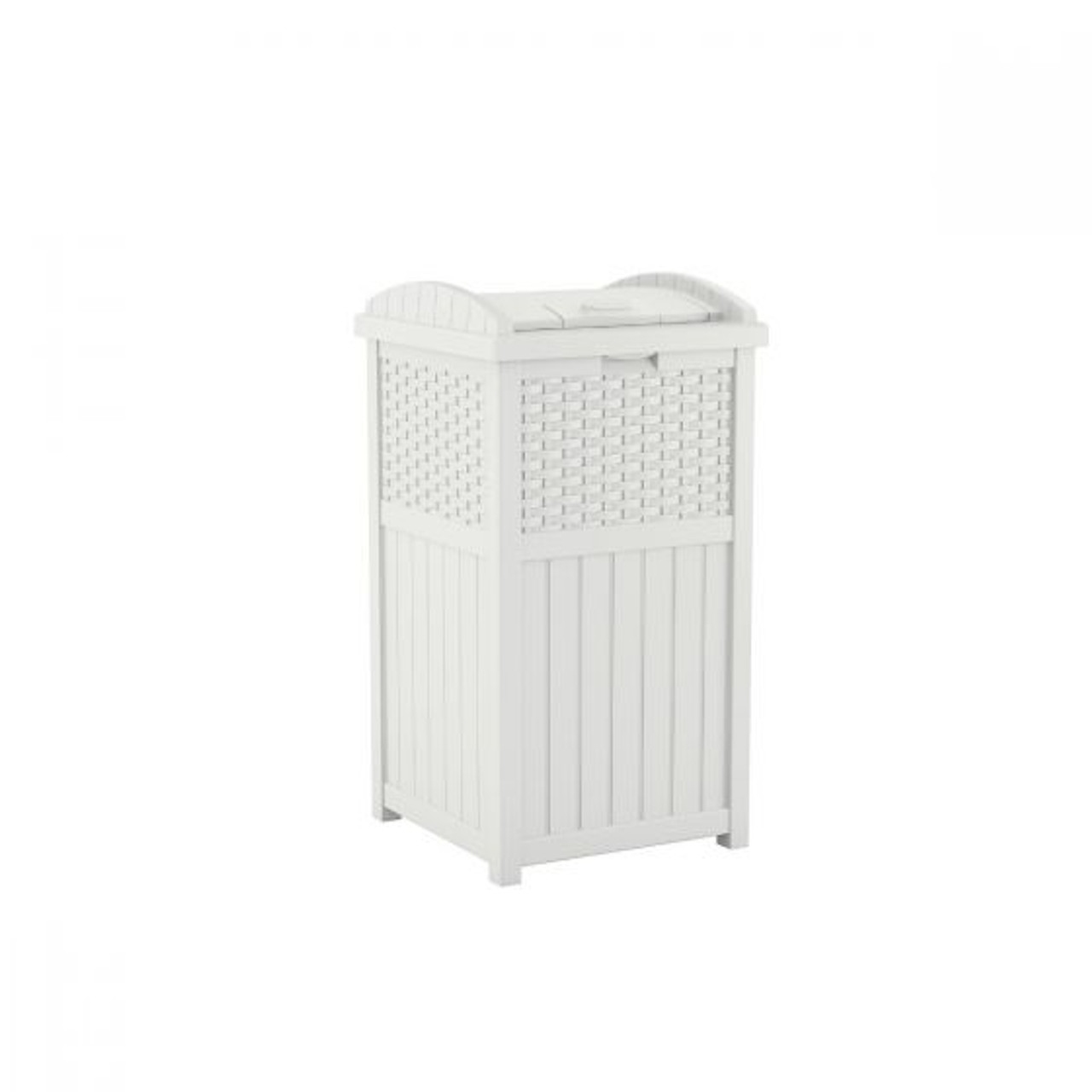 Wicker White Trash Can GHW1732WH for Deck or Patio