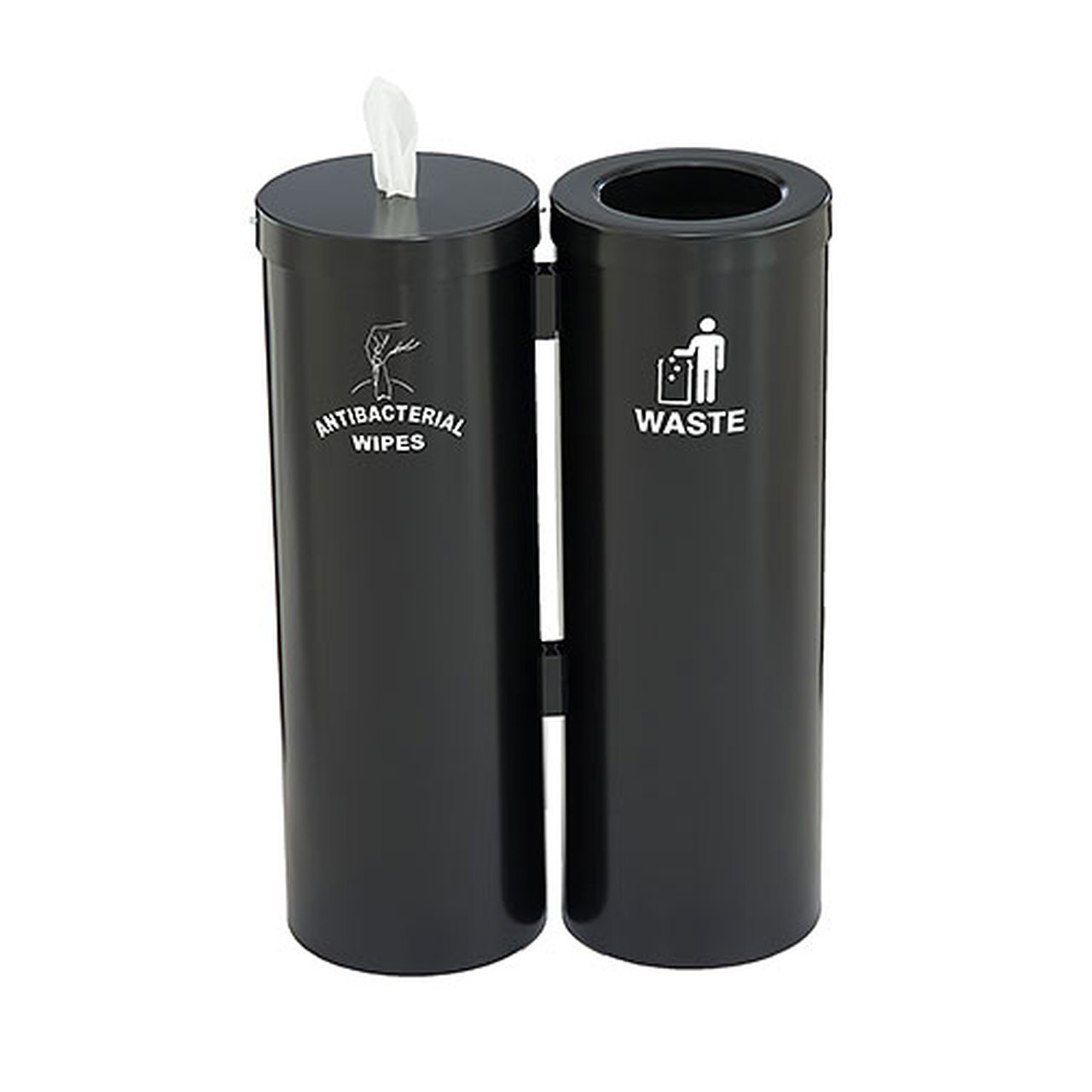 Wipe Dispenser with Matching Trash Can WD1030-S (Satin Black)