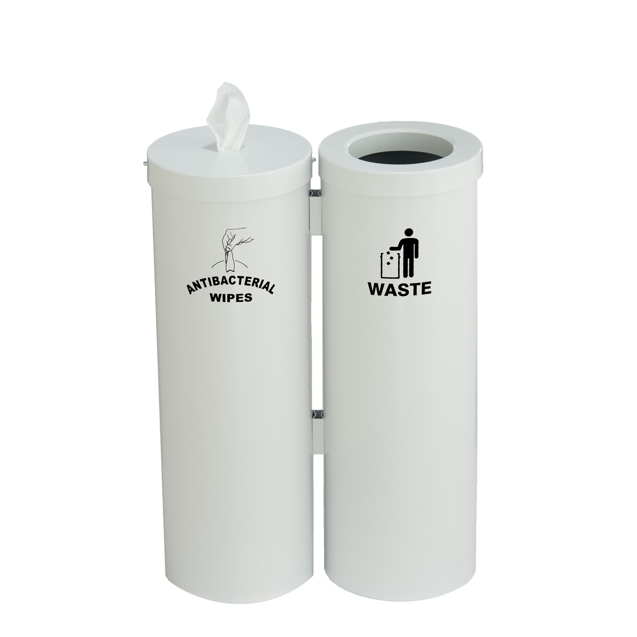 Wipe Dispenser with Matching Trash Can WD1030-S (White)