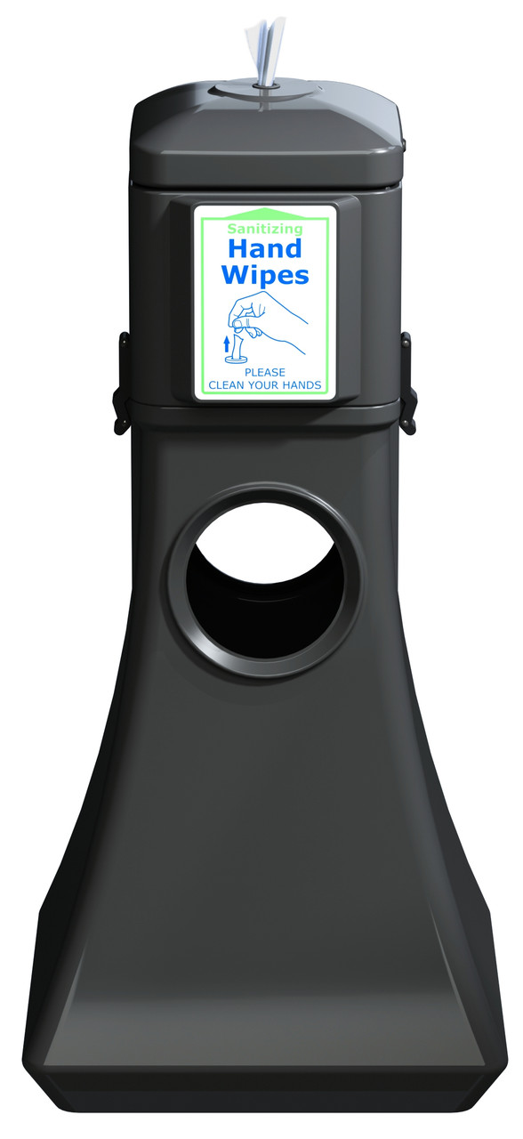 Sanitizing Wipe Dispenser Floor Standing w/Trash Can 8003253 (BLACK, No Wipes)