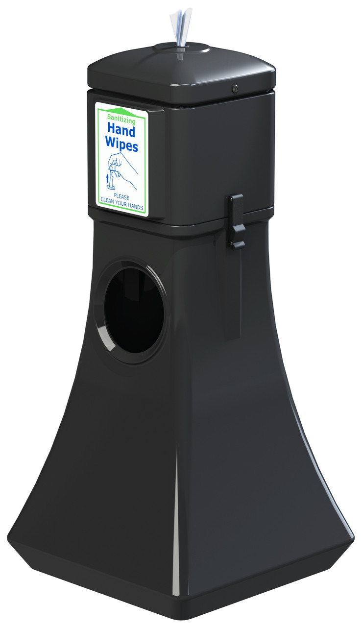 Sanitizing Wipe Dispenser Floor Standing w/Trash Can 8003252 (BLACK, With 900 Wipes)