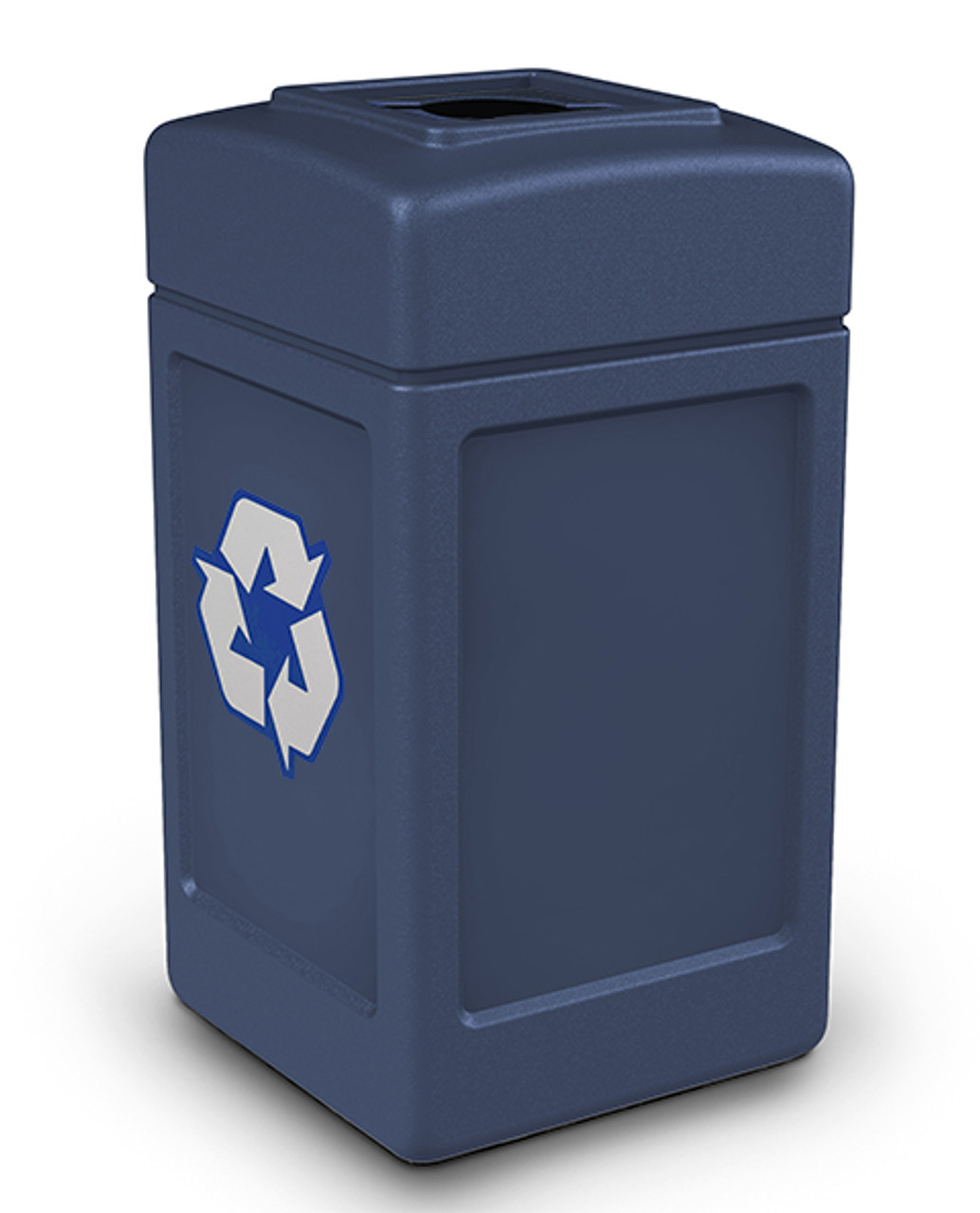 42 Gallon Indoor Outdoor Square Mixed Recycle Bin (Co-Mingle Opening, 8 Colors) DARK BLUE