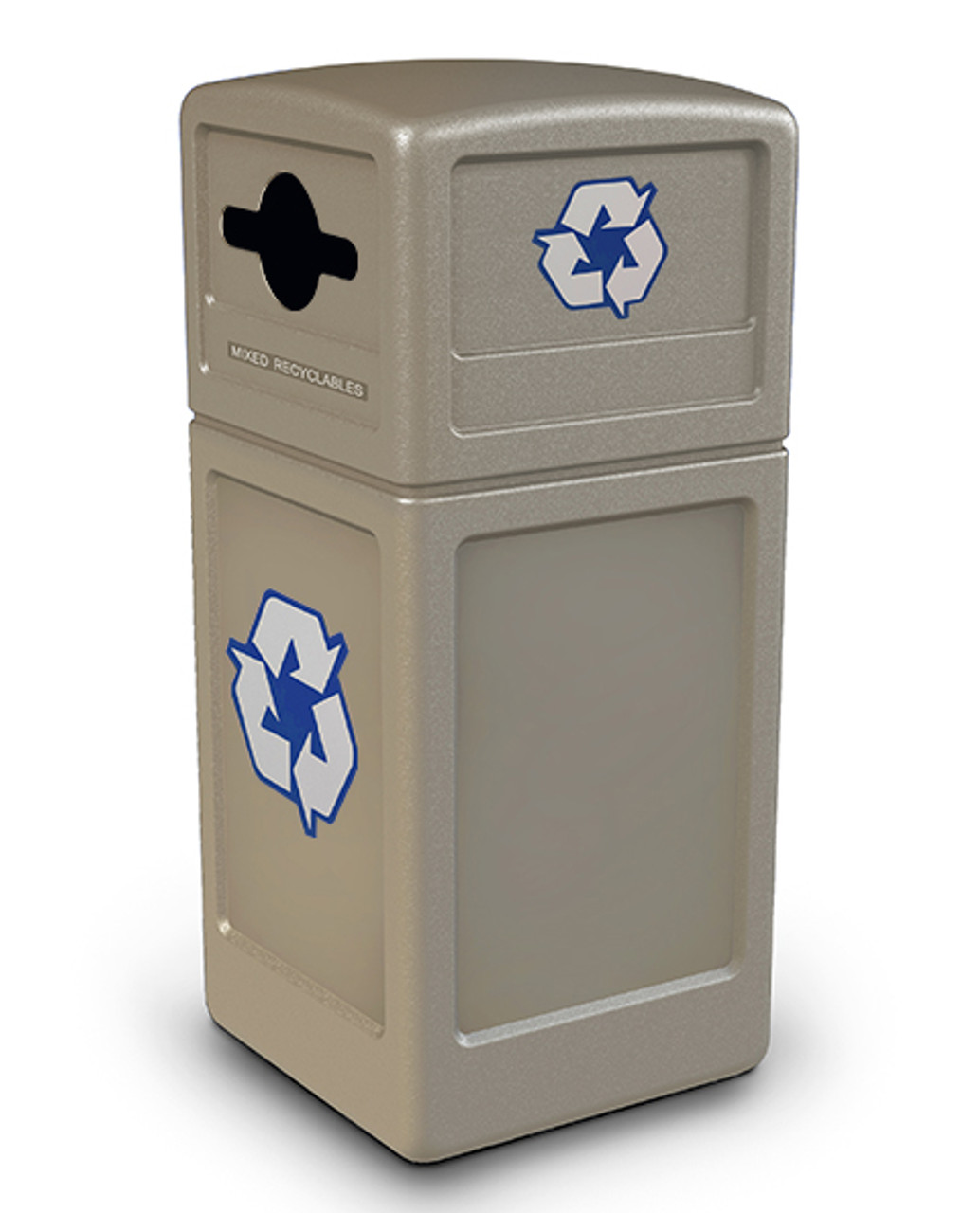 42 Gallon Recycling Trash Can with Dome Lid Mixed Opening BEIGE