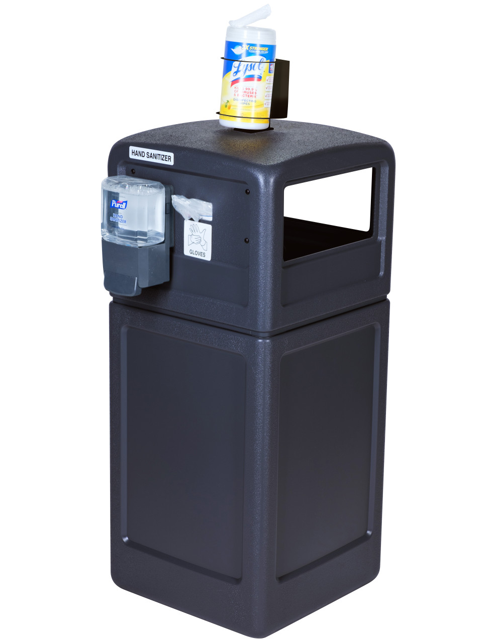 42 Gallon Square Clean Zone PPE Trash Can Black 735101