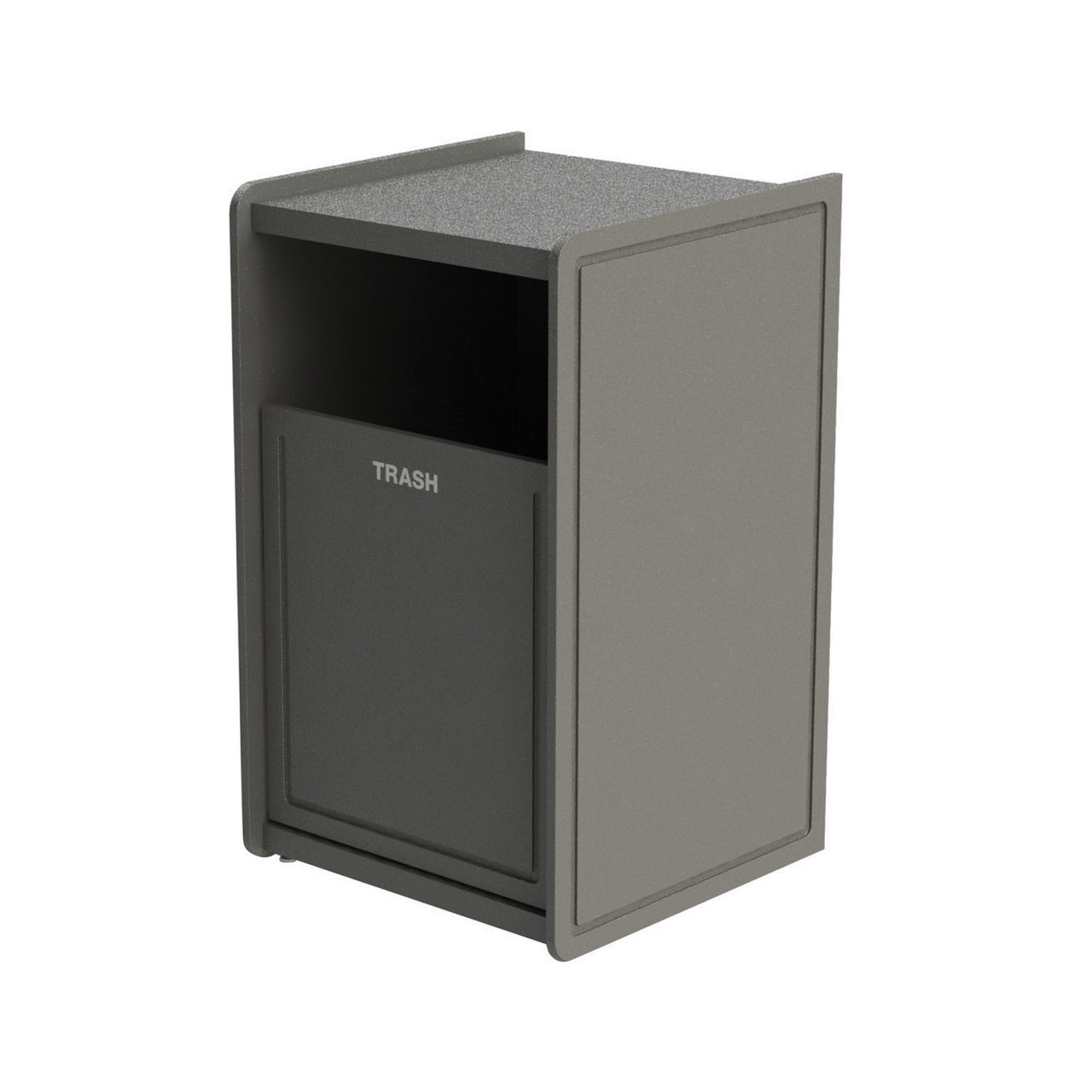 32 Gallon Single Side-Load Flat Top Trash Can Gray Routed