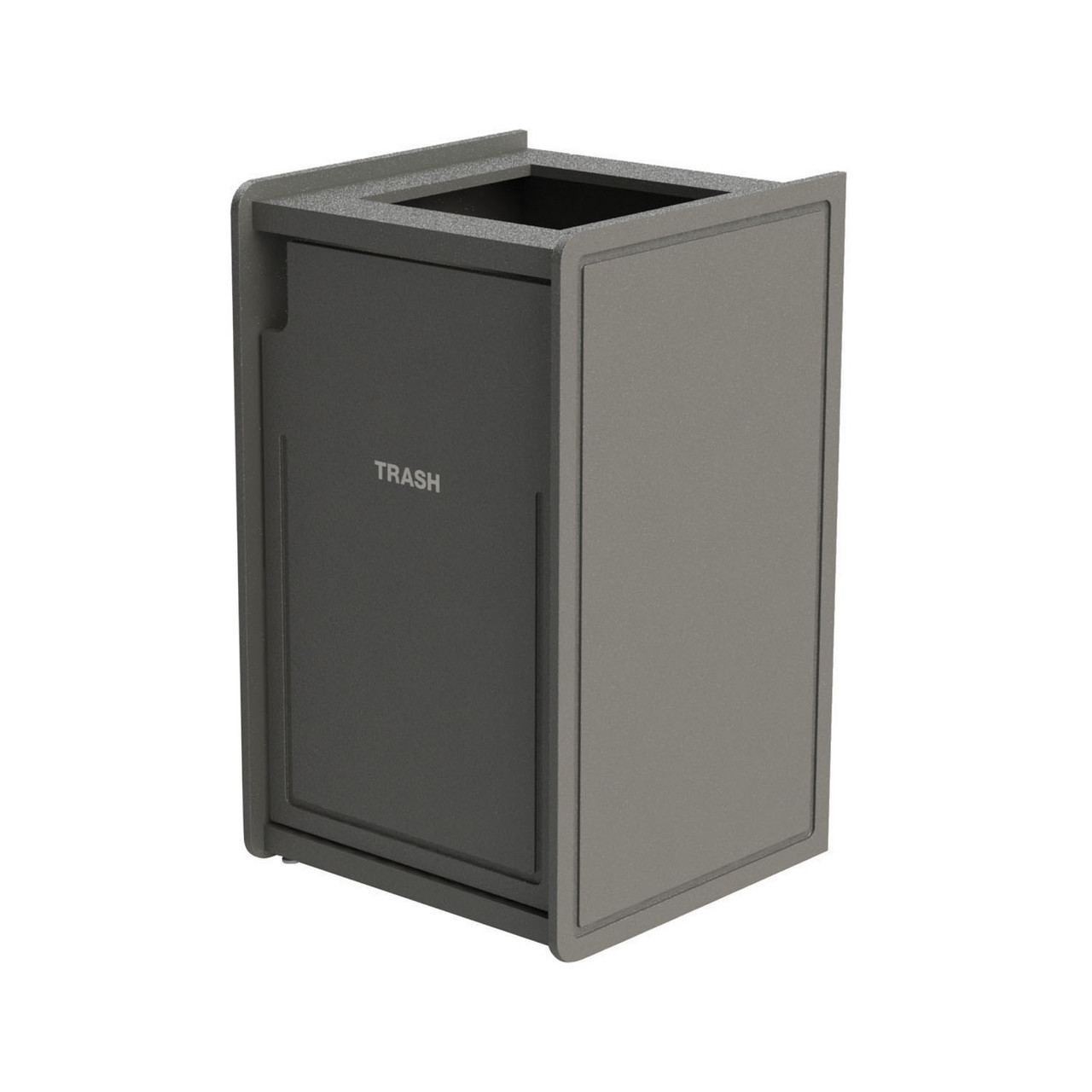 42 Gallon Single Top-Load Trash Can Routed Gray