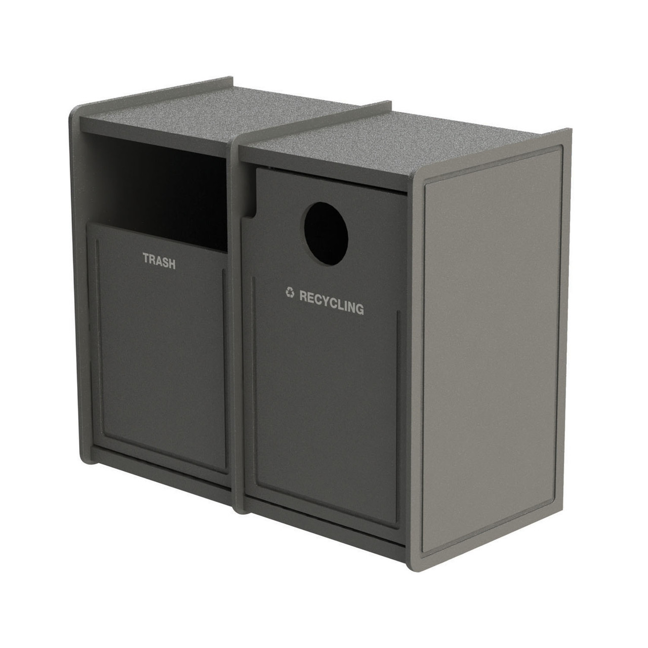 64 Gallon Dual Side-Load Flat Top Trash & Recycle Center Routed GRAY
