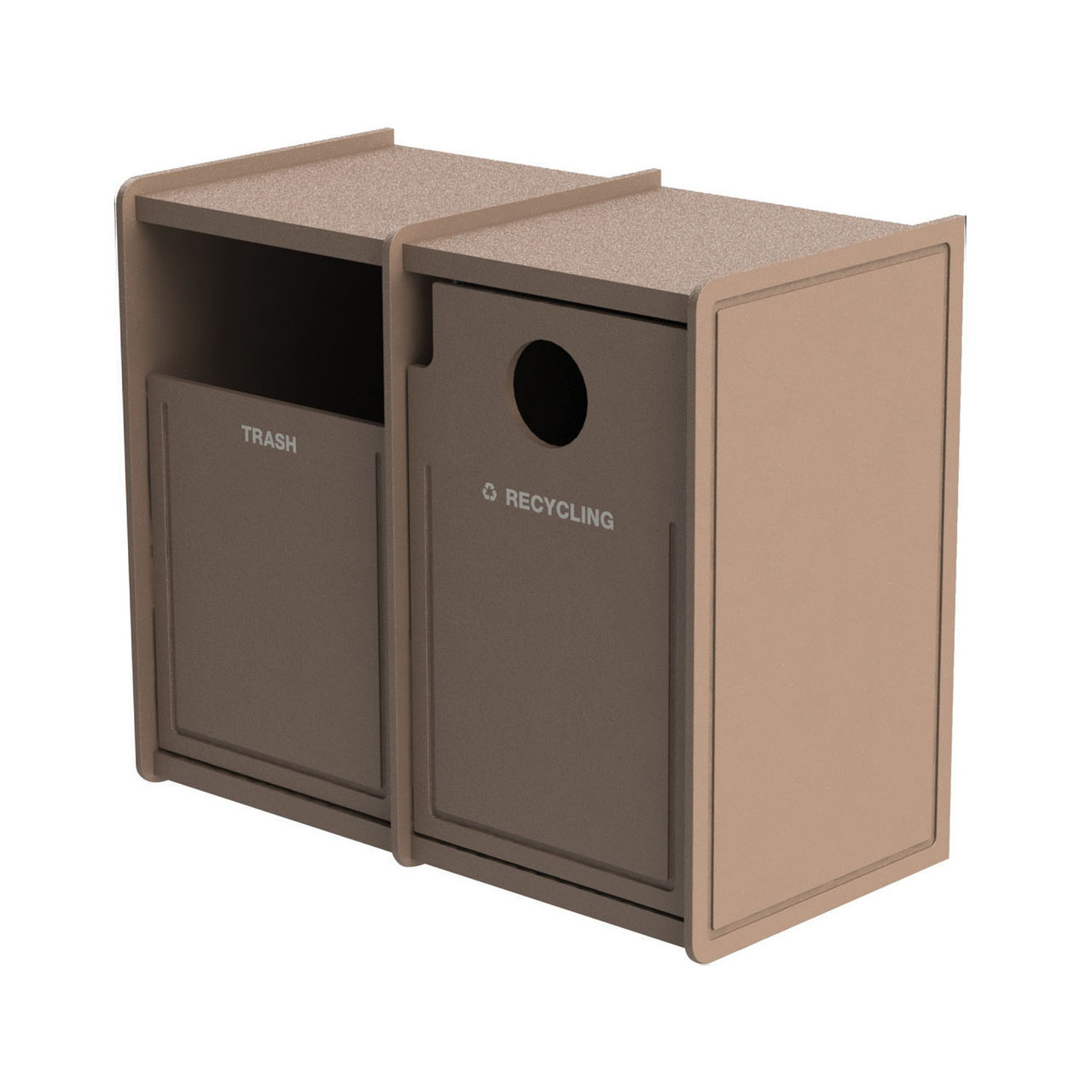 64 Gallon Dual Side-Load Flat Top Trash & Recycle Center Routed BEIGE