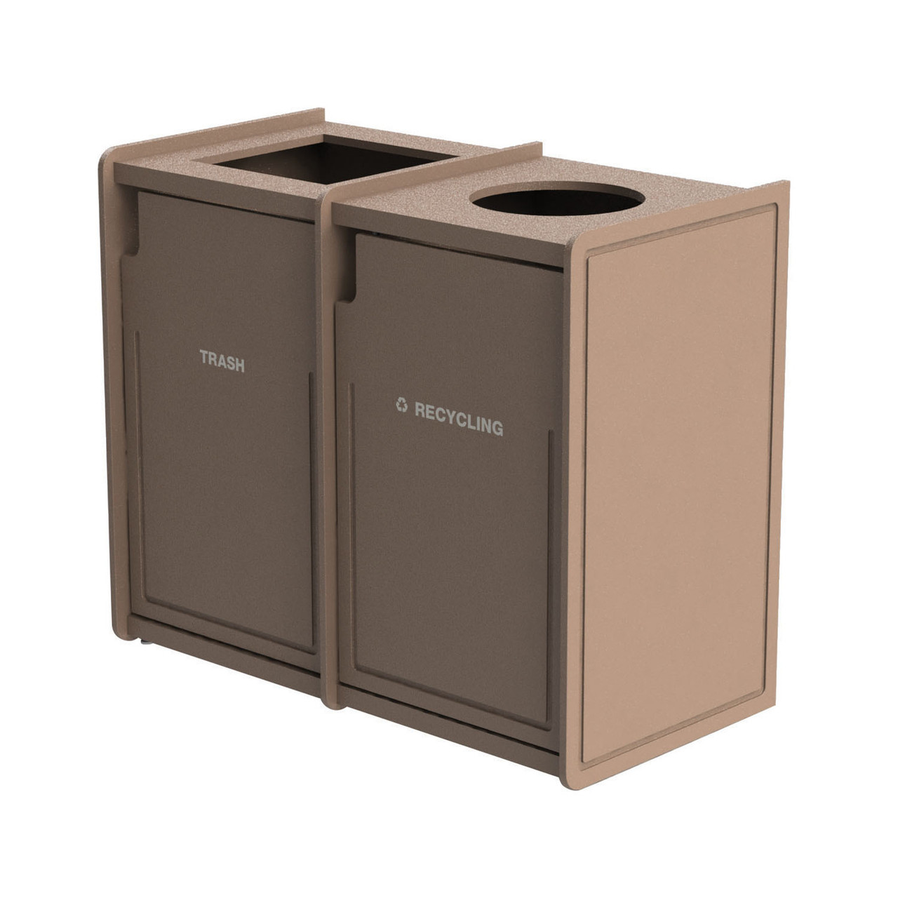 84 Gallon Dual Top-Load Trash Can 72TLFR42 Routed BEIGE