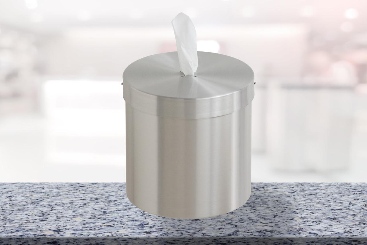 Tabletop Disinfecting Wipe Dispenser Satin Aluminum C1015-SA