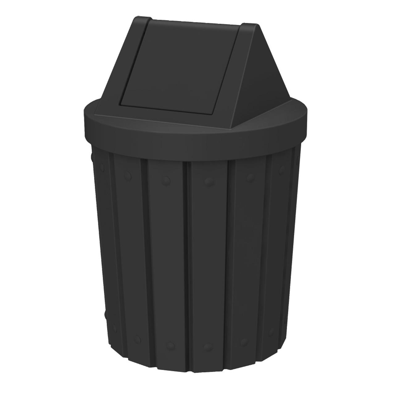 42 Gallon Kolor Can Heavy Duty Swing Top Park Trash Can S8284A-00 BLACK