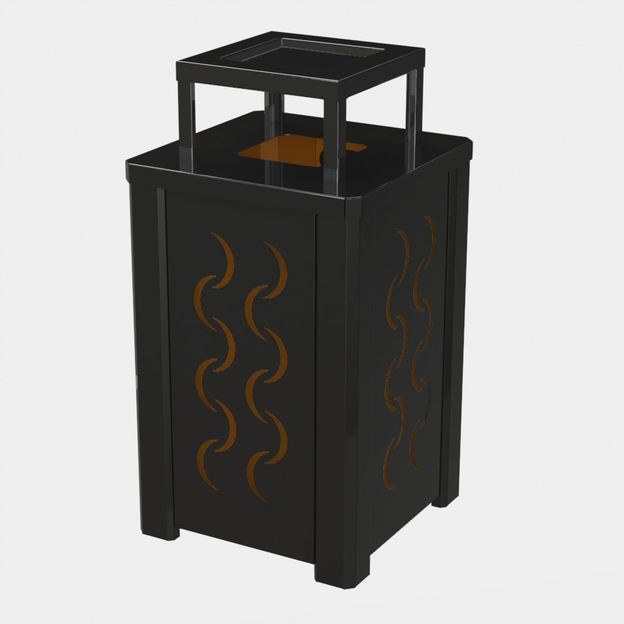 BLACK RECEPTACLE P04 WITH ORANGE LINER