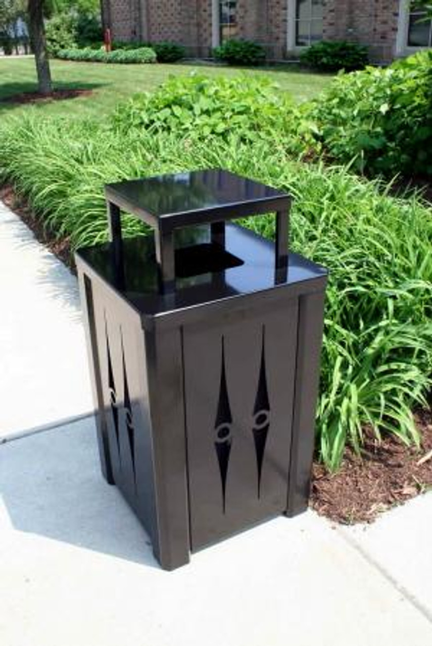 32 Gallon Outdoor Metal Trash Can Optional Rain Cover
