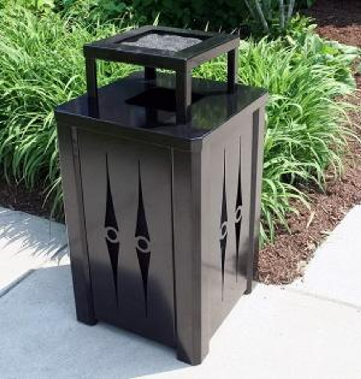 32 Gallon Outdoor Metal Trash Can Optional Ashtray and Rain Cover