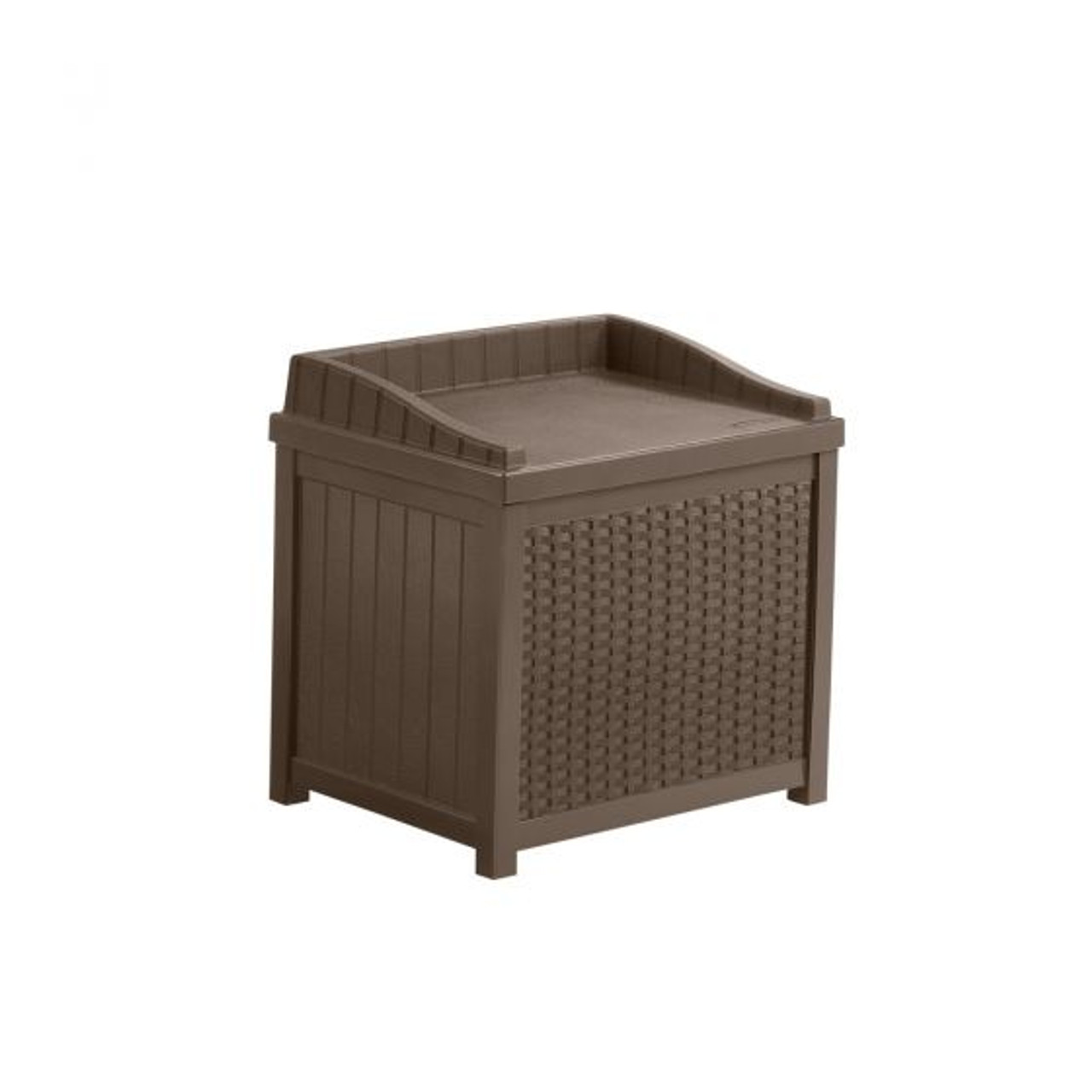 Outdoor Deck or Patio 22 Gallon Deck Box With Seat Wicker Mocha Java