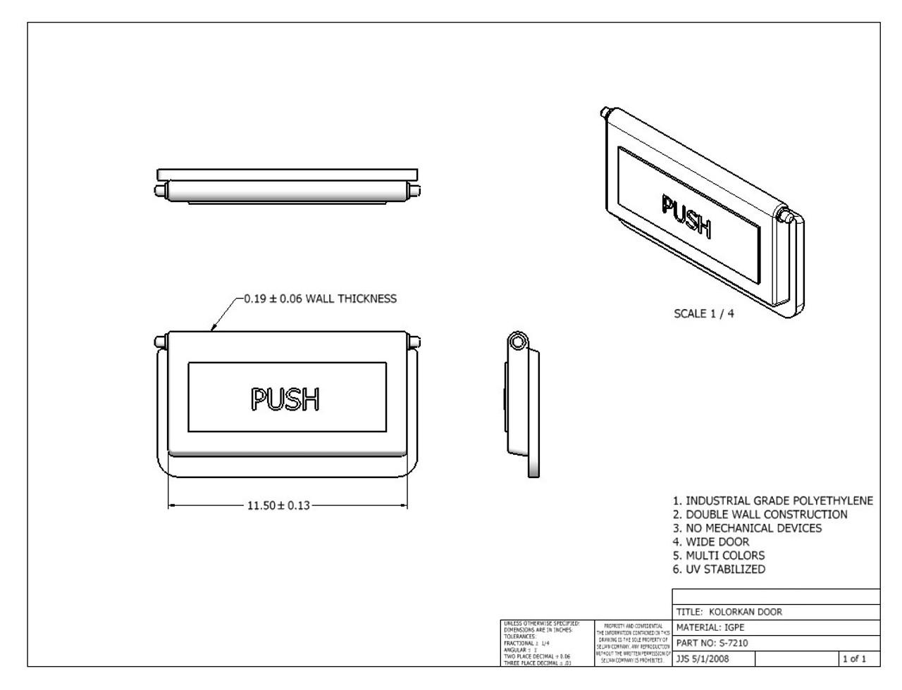 Flipper Door Spec Sheet
