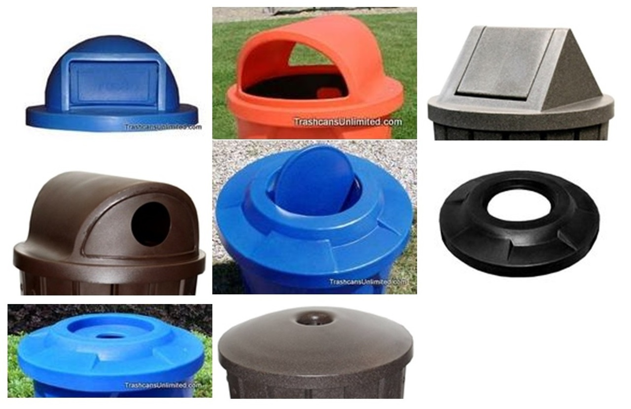 Dome Top & Flat Top Trash Can Lids for Kolor Can & 55 Gallon Drums (11 Styles, 13 Colors)