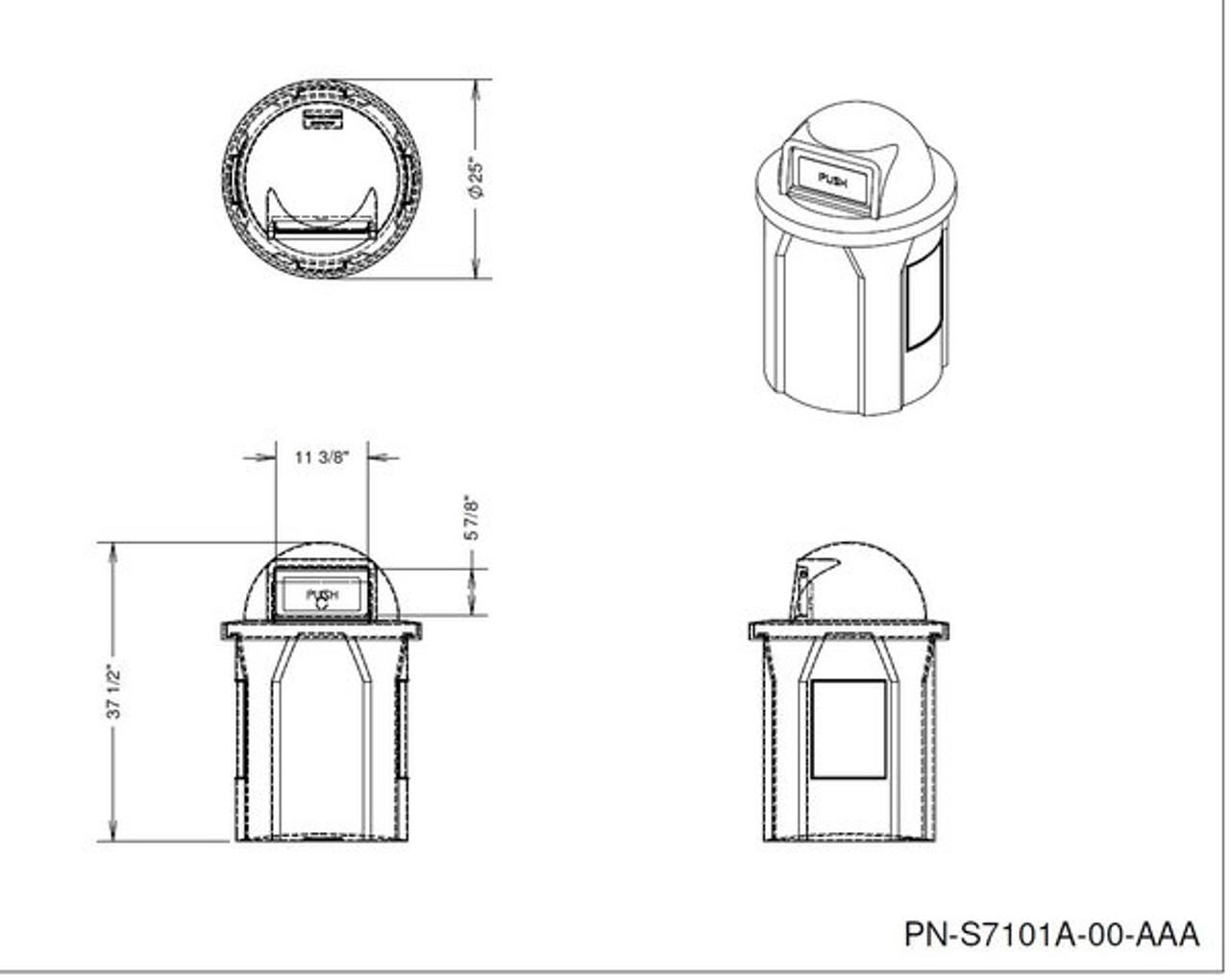 Kolor Can 42 Gallon Push Door Opening Drawing