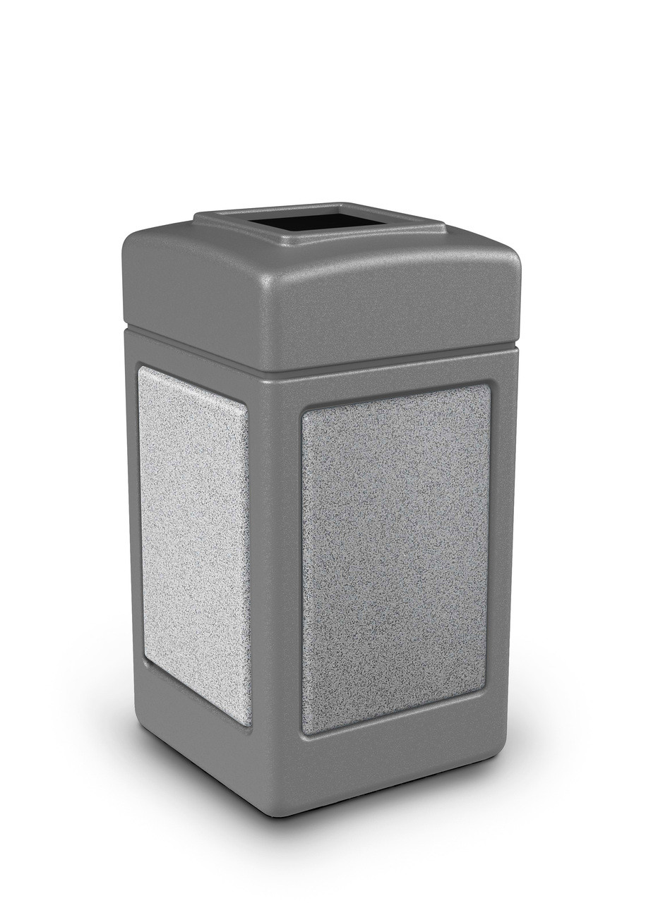 42 Gallon StoneTec Indoor Outdoor Stone Panel Plastic Trash Can Gray Ashstone