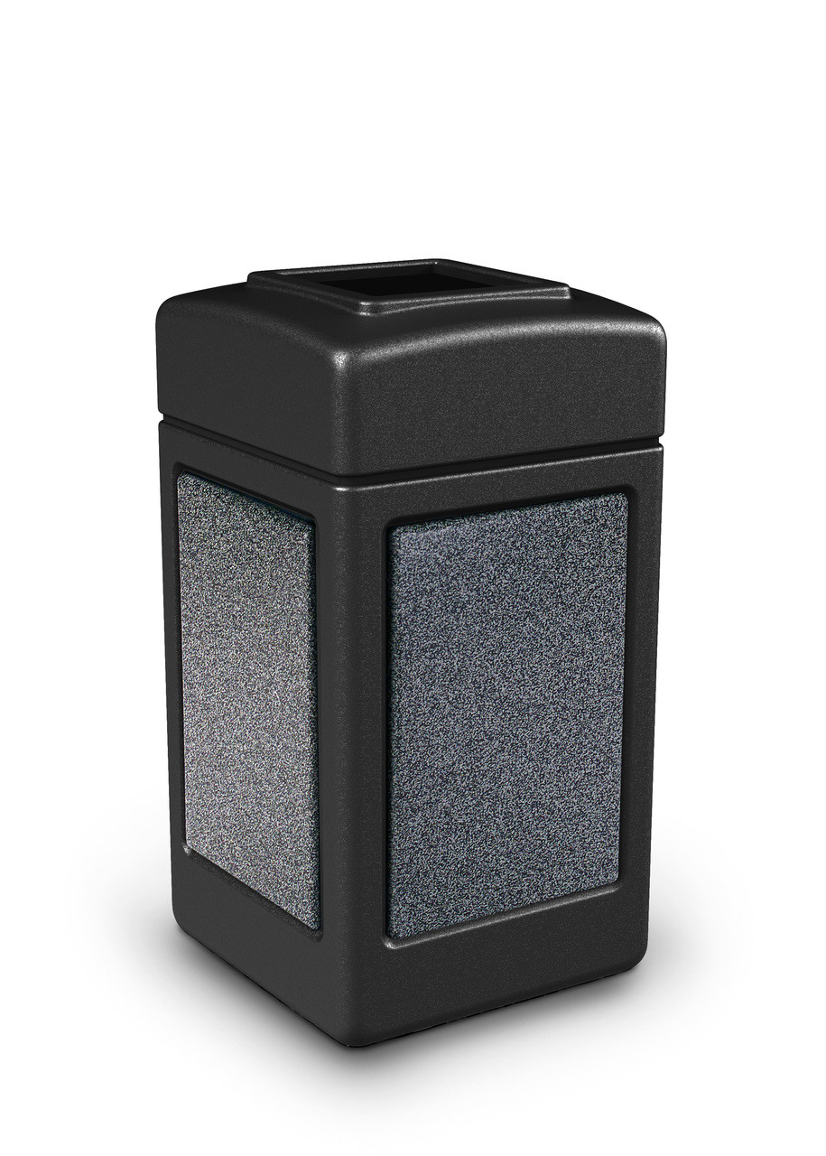 42 Gallon StoneTec Indoor Outdoor Stone Panel Plastic Trash Can Black Pepperstone