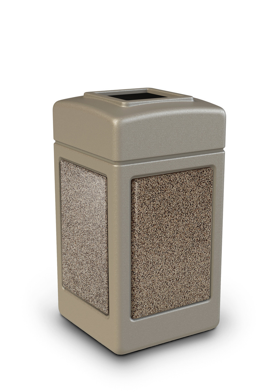 42 Gallon StoneTec Indoor Outdoor Stone Panel Plastic Trash Can Beige Riverstone