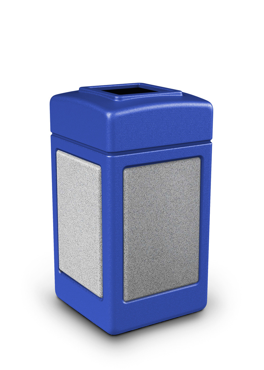 42 Gallon StoneTec Indoor Outdoor Stone Panel Plastic Trash Can Blue Ashstone