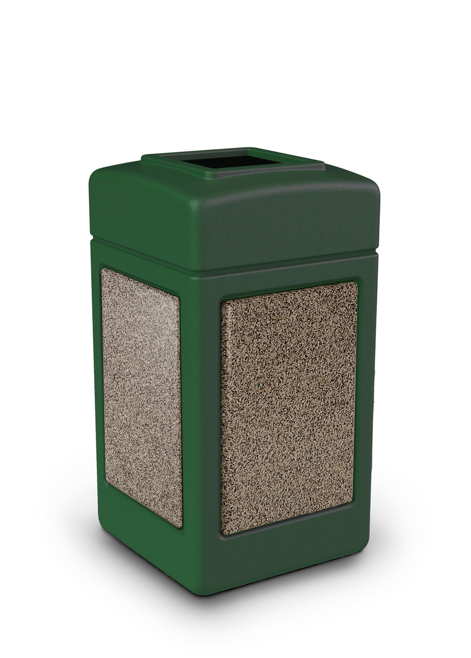 42 Gallon StoneTec Indoor Outdoor Stone Panel Plastic Trash Can Green Riverstone