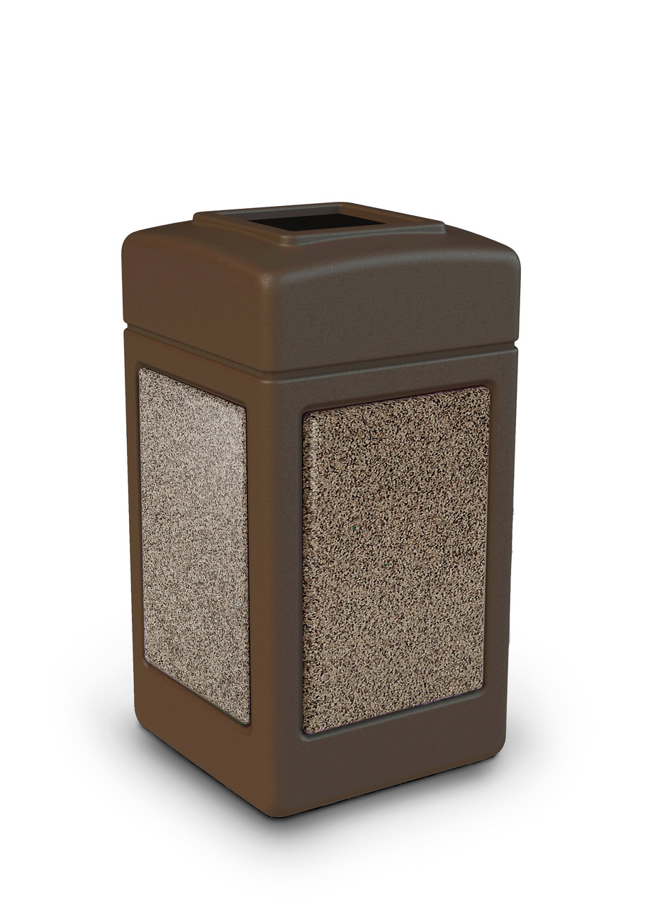 42 Gallon StoneTec Indoor Outdoor Stone Panel Plastic Trash Can Brown Riverstone
