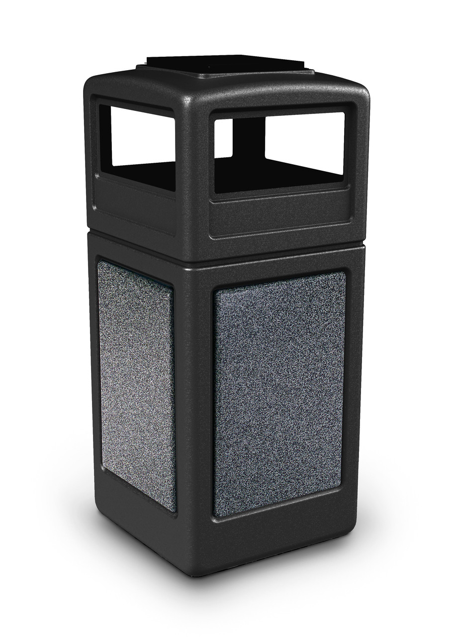 42 Gallon StoneTec Indoor Outdoor Trash Can Dome Lid and Ashtray Black Pepperstone