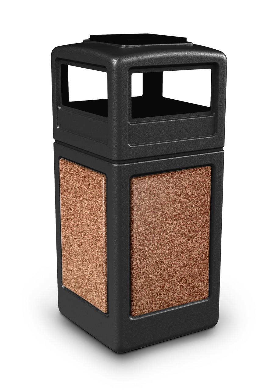 42 Gallon StoneTec Indoor Outdoor Trash Can Dome Lid and Ashtray Black Sedona