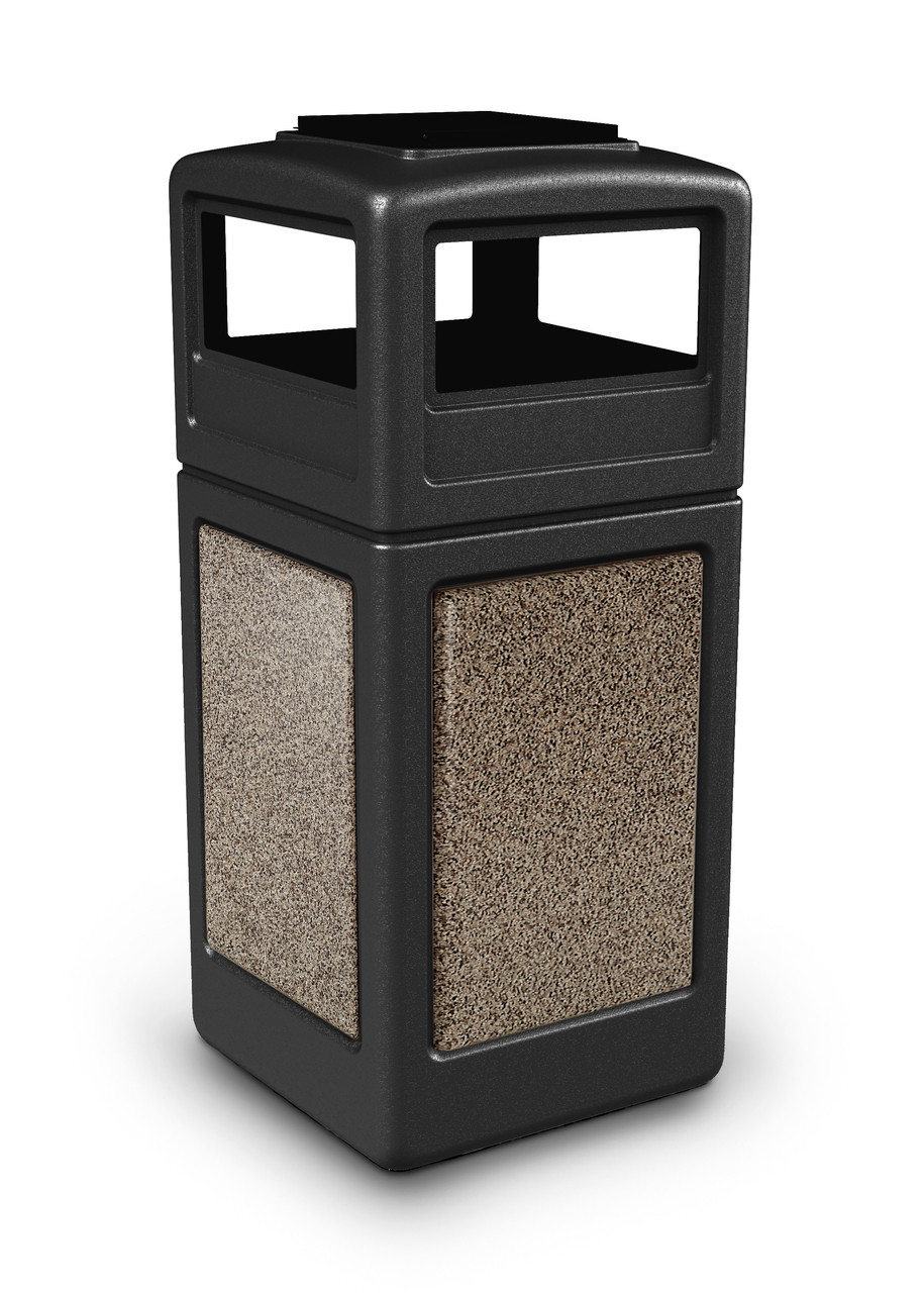 42 Gallon StoneTec Indoor Outdoor Trash Can Dome Lid and Ashtray Black Riverstone