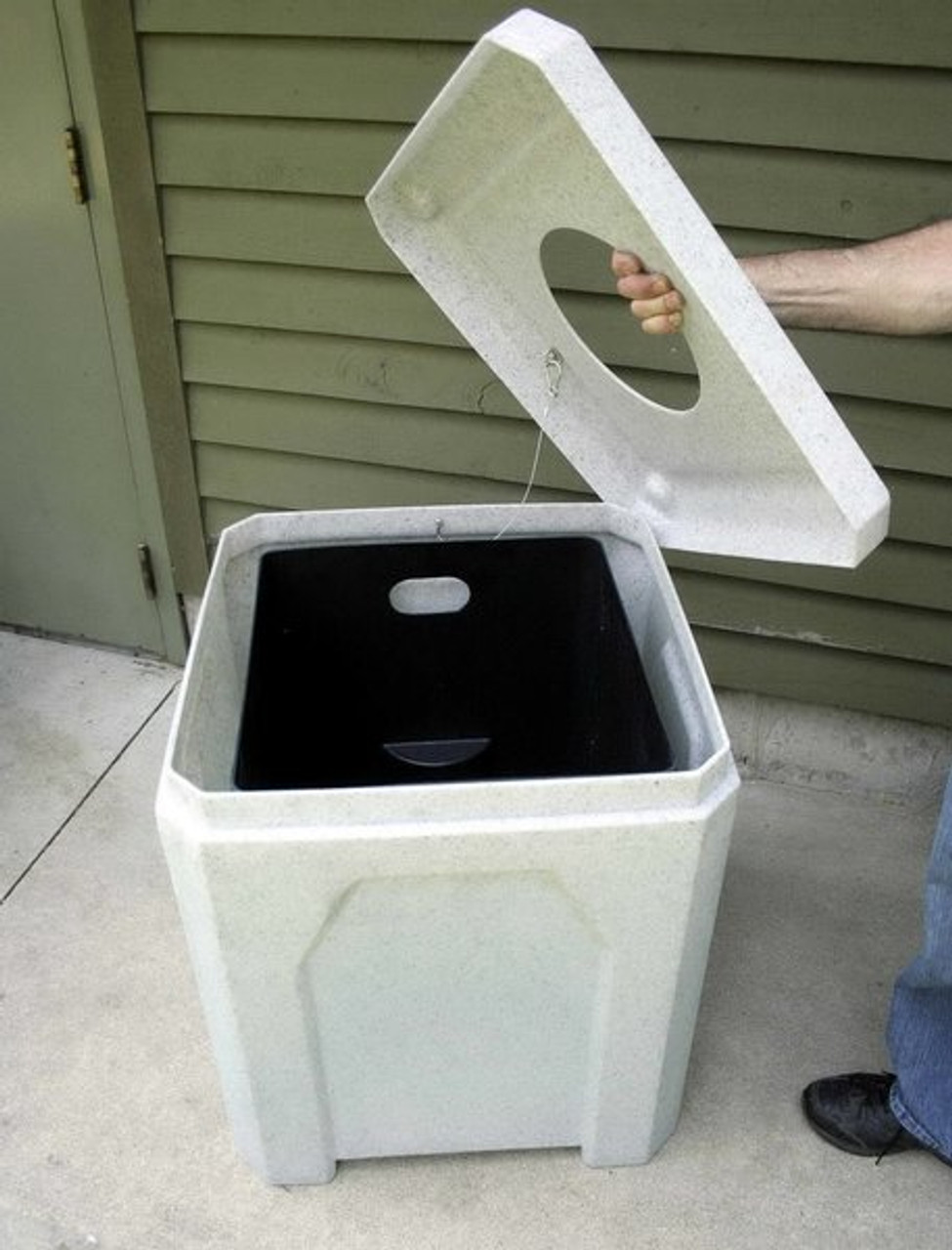 Kolor Can 52 Gallon Square School and Park Trash Receptacle with Lid Off