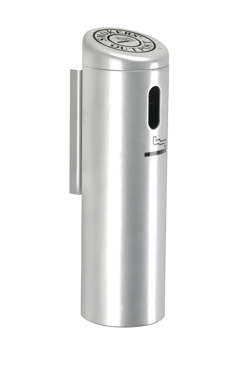 Lockable Smokers Outpost Wall Mount Cigarette Receptacle Outdoor Ashtray Silver