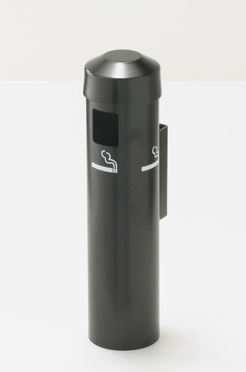 2401 Wall Mount Metal Value Smokers Cigarette Receptacle Ashtray Satin Black